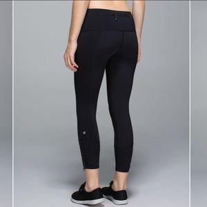 Lululemon Runday Crop Black Zipper Leggings